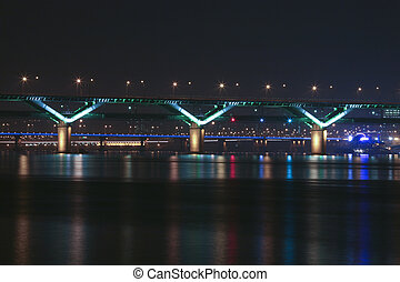 Night view of the Han River in Seoul, South Korea