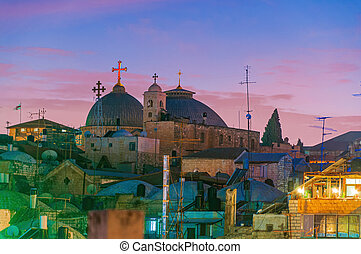Night view of the Holy Sepulchre Church in Jerusalem, Israel