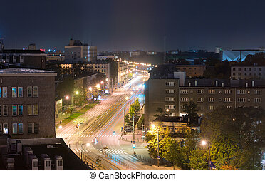 night view of the Independence Avenue in Warsaw