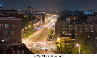 night view of the Independence Avenue in Warsaw, time lapse