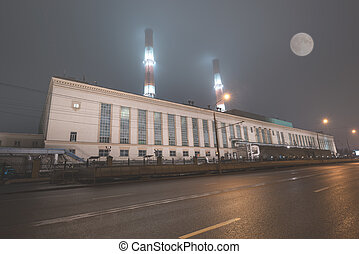 Night view of the industrial building.