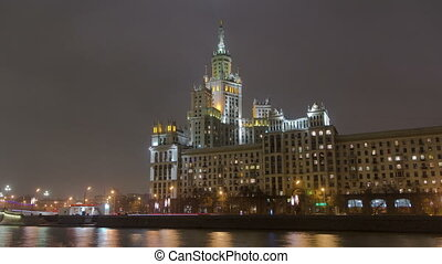 Night view of the Kotelnicheskaya Embankment Building hyperlapse in Moscow timelapse, Russia.