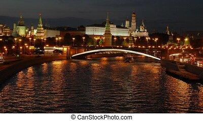 Night view of the Kremlin, Big Stone Bridge, Moscow River...