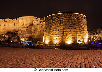 Night view of the Kyrenia Castle in Northern Cyprus. The 16th-century castle was built by the Venetians over a previous Crusader fortification.