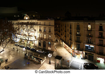 Night view of the La Rambla. Catalonia, Spain