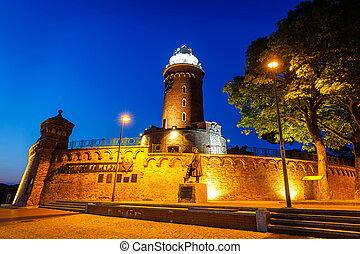 Night view of  the lighthouse in Kolobrzeg, West Pomerania, Poland