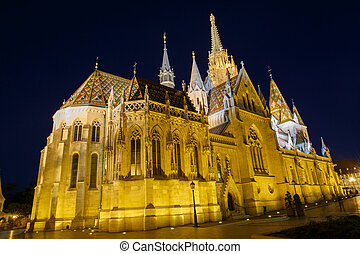 Night view of the Matthias Church in Budapest