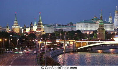 night view of the Moskva River, the Great Stone Bridge and the Kremlin, Moscow, Russia