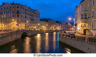 Night view of the Moyka River Quay with Second Winter Bridge timelapse. Saint Petersburg, Russia.