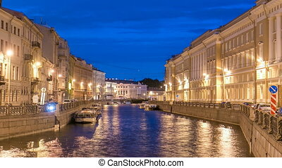 Night view of the Moyka River Quay with bridge timelapse. Saint Petersburg, Russia.
