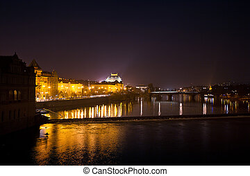 night view of the National Theatre in Prague