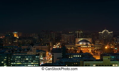 Night view of the Novosibirsk city, Russia.