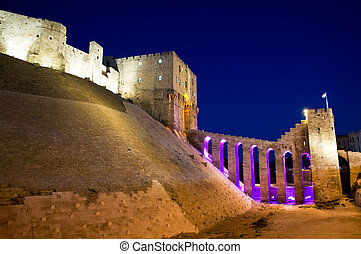 Night view of the Old Citadel of Aleppo, Syria - Entrance of...