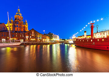 Night view of the Old Town in Helsinki, Finland