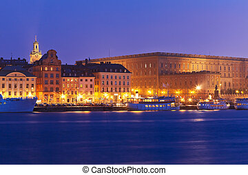 Night view of the Old Town in Stockholm, Sweden