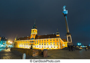 Night view of the old town in Warsaw, Poland