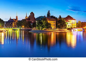 Night view of the Old Town of Wroclaw, Poland