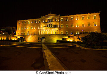 Night view of the Parliament of Greece