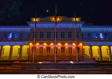 Night view of the Presidential Palace in Vilnius with christmas illumination, Lithuania