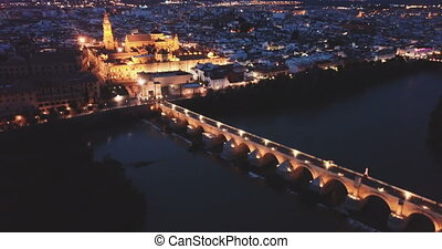 Roman bridge and Mosque-cathedral of Cordoba in night. Spain