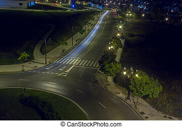 Night view of the streets of the city of Oviedo, Spain