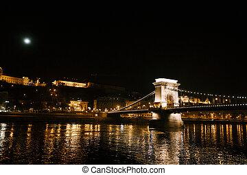 Night view of the Szechenyi chain bridge in Budapest with illumination