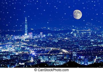 Night view of the Taipei city, Taiw