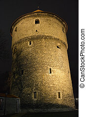 Night view of the Tallinn castle tower