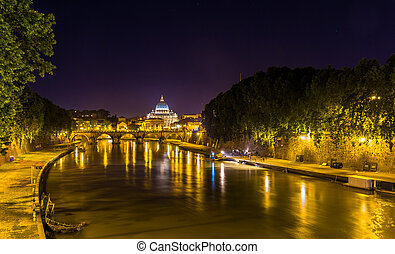 Night view of the Tiber river in Rome