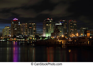 West Palm Beach Skyline - Night View of the West Palm Beach...
