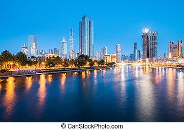night view of tianjin haihe river