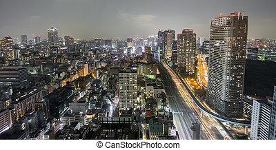 Night view of Tokyo, long exposure