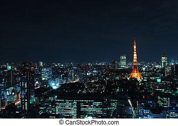 Night view of Tokyo tower - Night view of Tokyo metropolitan...