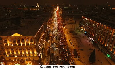 Night view of Tverskaya Street in winter