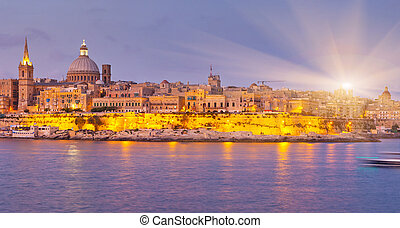 Malta - Night view of Valletta from Sliema. Valletta with...