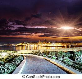 Malta - Night view of Valletta from Sliema. Valletta with ...