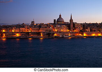Night view of Valletta, Malta - Night view of Valletta from...