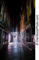 night view of Venice street, Italy