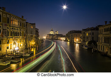 Night View of Venice with Blurred Motion of Boats