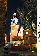 Night view of Wawel Castle in Cracow, Poland