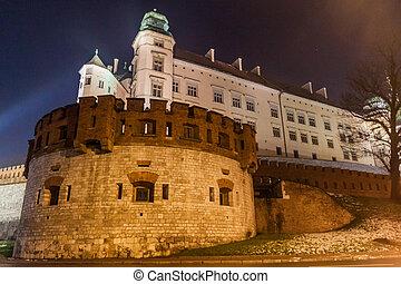 Night view of Wawel castle in Krakow, Pola