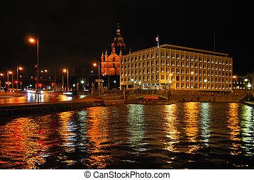Night view of  winter Helsinki