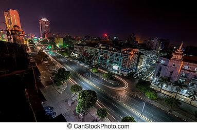 Night view of Yangon cityscape. Myanmar (Burma) - Night view...