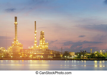 Night view Oil refinery river front