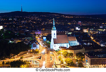 Night view on auto junction in Bratislava - Night auto...