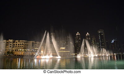 Night view on Down town and Dancing fountains in Dubai city