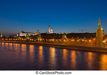 Night view on Kremlin castle in Moscow, Russia
