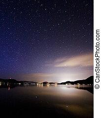 Night View on Mountain Lake