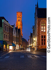 Night view on old street of Bruges