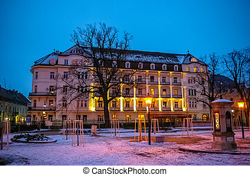 Night view on residential building in Baden bei Wien - Night...